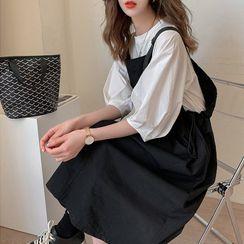 Unyverso - Set: Puff-Sleeve Blouse + Drawstring Midi Overall Dress