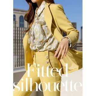 Styleonme - Metallic-Button Pastel-Color Tailored Blazer