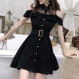 Yilda - Mesh Panel Short-Sleeve A-Line Dress
