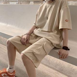 JUN.LEE - Set: Plain Short Sleeve T-Shirt/ Plain Sweatshorts