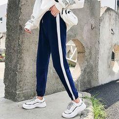 Manki - Contrast Trim Velvet Sweatpants