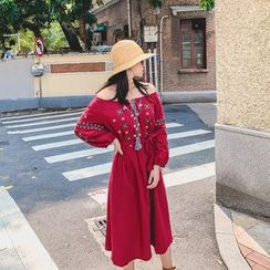 Fancy Show - Long-Sleeve Off-Shoulder Embroidered A-Line Dress