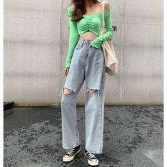 Coline - Distressed Cropped Wide-Leg Jeans / Belt / Set