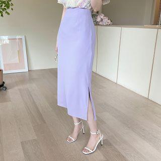 MyFiona - Slit-Side Long Pencil Skirt