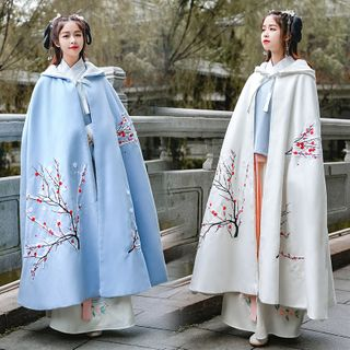 Tangier - Flower Embroidered Hooded Fleece-Lined Cape