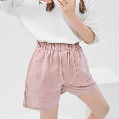 HOTPING - Band-Waist Cotton Shorts