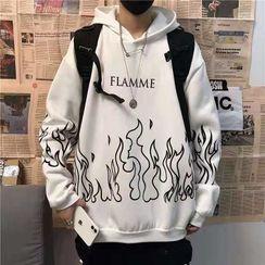 百高 - 火焰印花连帽衫