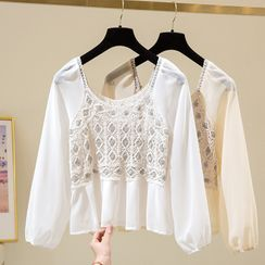 Donnae - Long-Sleeve Lace Panel Top