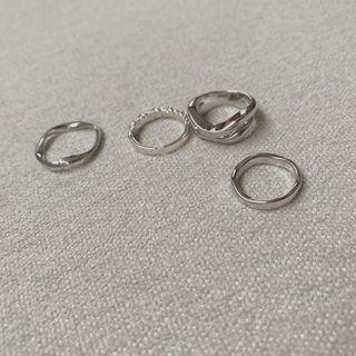 CHERRYKOKO - Wavy Silver Tone Ring (4 PCS)