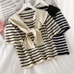PUYE - Short-Sleeve Mock Two-Piece Striped Top