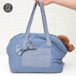 Pettrip - Bow-accent Striped Panel Pet Carrier Bag
