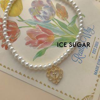 ICE SUGAR - 合金十字心形吊墜仿珍珠項鏈