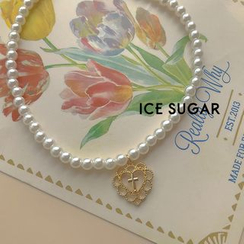 ICE SUGAR - Alloy Cross Heart Pendant Faux Pearl Necklace