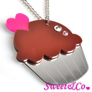 Sweet & Co. - 特大水晶巧克力Cupcake银颈链