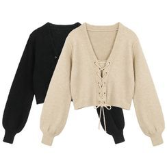 Shera - Lace Up Cardigan