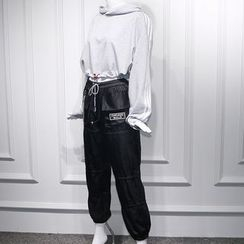 JOYIST - Cropped Drawstring Hoodie / Striped Camisole Top / Drawstring Cropped Harem Pants / Pants Chain