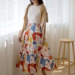 NAIN - Illustrated Long Pleated Skirt