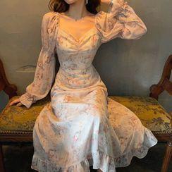 Pippa Pyne - 长袖碎花A字雪纺连衣中裙
