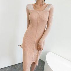 DABAGIRL - Two-Tone Knit Cardigan Dress