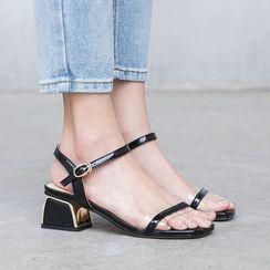Freesia - 露趾踝带粗跟凉鞋