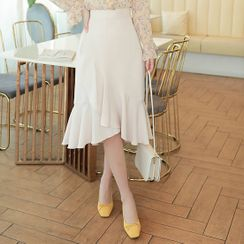 MyFiona - Wrap-Front Ruffle-Hem Midi Skirt