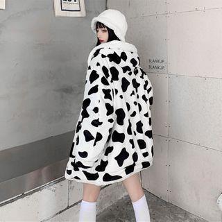 Porstina - 奶牛 / 熊猫印花两面穿连帽拉链抓毛夹克
