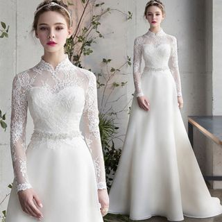 Sennyo - Stand Collar Long Sleeve Lace A-Line Wedding Dress