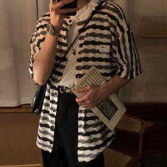 JISHOM - Couple Matching Elbow-Sleeve Striped Knit Top