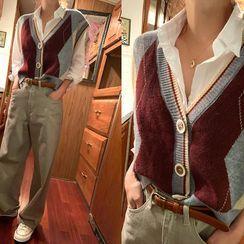 NANING9 - Button-Up Argyle Sweater Vest