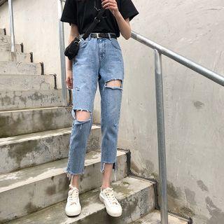 Guromo - 做旧九分直筒牛仔裤