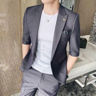 Bay Go Mall - Set: Elbow-Sleeve Single-Breasted Blazer + Dress Pants