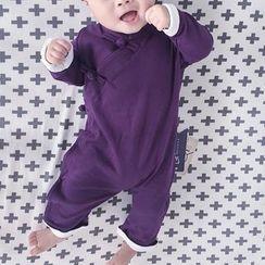 MOM Kiss - 嬰兒盤扣長袖連身衣