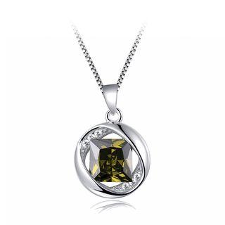 BELEC - 925纯银八月生辰石吊坠配绿色锆石及项链