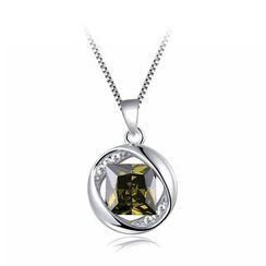 BELEC - 925 Sterling Silver August Birthday Stone Pendant with Green Cubic Zircon and Necklace