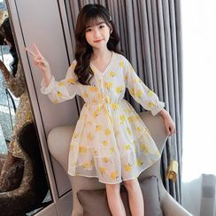 PAM - Kids Long-Sleeve Floral Print A-Line Dress