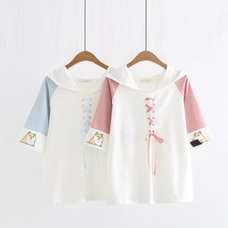 Cat Planet - Lace-Up Dog Print Elbow-Sleeve Hoodie