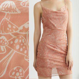 Pandaramma - Ruffle Trim Mesh Mushroom Print Spaghetti-Strap Mini Bodycon Dress