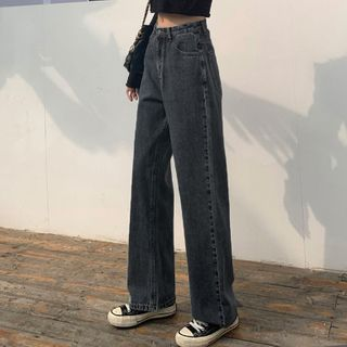 PERKARP - Washed Wide Leg Jeans