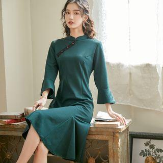 LML - Mandarin Collar Striped Midi A-Line Godet Dress
