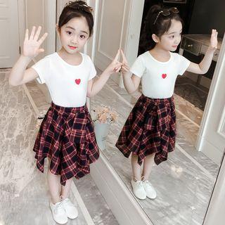 Qin Qin - Kids Set: Heart Print Short-Sleeve T-Shirt + Plaid Skirt