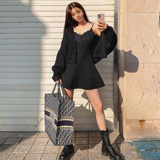 LIPHOP - Lace-Trim Mini Bustier Dress