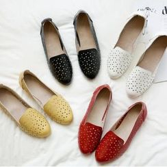 Shoes Galore - Genuine Leather Perforated Wedge Heel Moccasins