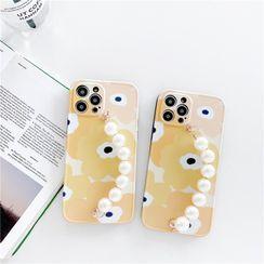 Keekulu - Flower Faux Pearl Hand Chain Phone Case - iPhone 12 Pro Max / 12 Pro / 12 / 12 mini / 11 Pro Max / 11 Pro / 11 / XS Max / XS / XR / X / SE 2 / 8 / 8 Plus / 7 / 7 Plus