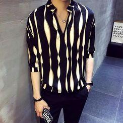Cochilla - Striped Elbow-Sleeve Shirt