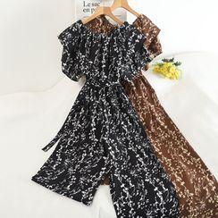 Pinatra - Short-Sleeve Floral Wide-Leg Jumpsuit