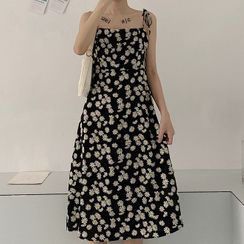 Apotheosis - Spaghetti Strap Floral Print Midi A-Line Dress