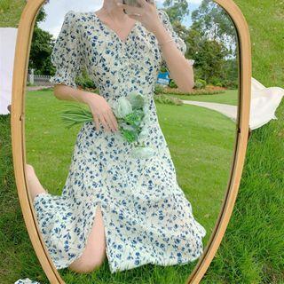 Beauteau - 短袖碎花印花A字連衣中裙