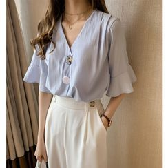 INEN - Elbow-Sleeve V-Neck Button-Up Chiffon Blouse