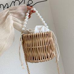 Aishang - Faux Pearl Woven Chain Bucket Bag