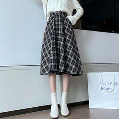 Yupina - Plaid A-Line  Midi Skirt